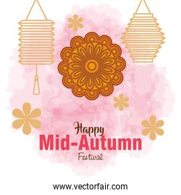 chinese mid autumn festival with mooncake, flowers and lanterns hanging
