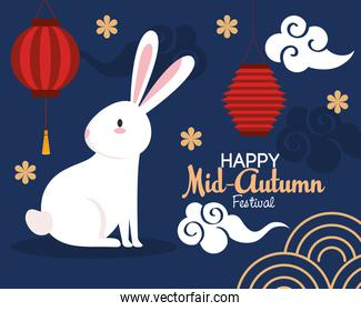chinese mid autumn festival with rabbit, lanterns hanging, clouds and flowers