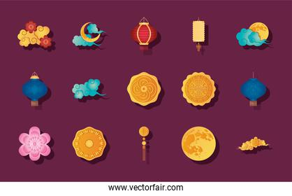 moon and mid autumn icon set, detailed style