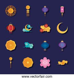 mid autumn and chinese lanterns icon set, detailed style