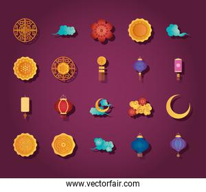 oriental clouds and mid autumn icon set, detailed style