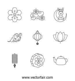 icon set of flower and mid autumn, line style