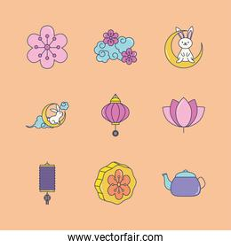 icon set of flower and mid autumn, line fill style