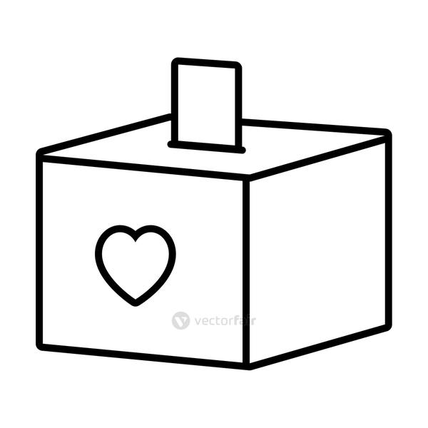 donation box with heart icon, line style