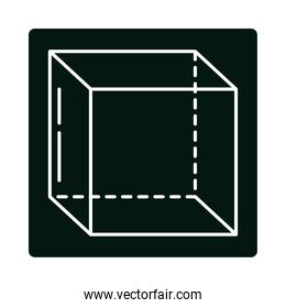 cube geometry perspective isometric block and line icon