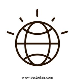 world planet map global line icon isolated design
