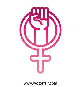 feminism movement icon, symbol of female gender raised hand, rights gradient style