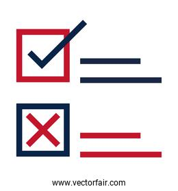United States elections, choose republican or democratic candidate, political election campaign flat icon design