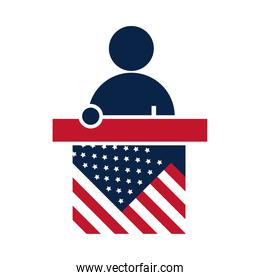 United States elections, speaking candidate in podium, political election campaign flat icon design
