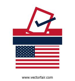 United States elections, american flag voting and ballot box, political election campaign flat icon design