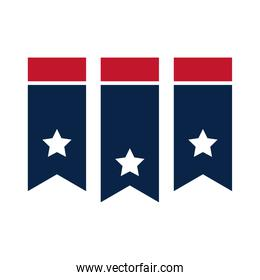 United States elections, flag american pendants decoration, political election campaign flat icon design