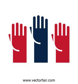 United States elections, raised hands campaign political election flat icon design