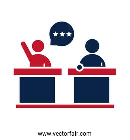 United States elections, presidential candidates debate political election campaign flat icon design