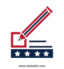United States elections, pencil marker list ballot political election campaign flat icon design