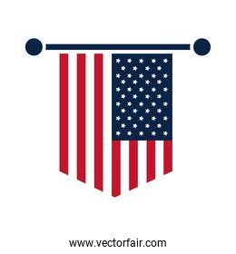 United States elections, american flag in pendant celebration, political election campaign flat icon design