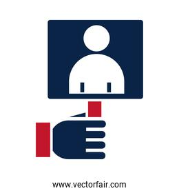 United States elections, hand with candidate in placard political election campaign flat icon design