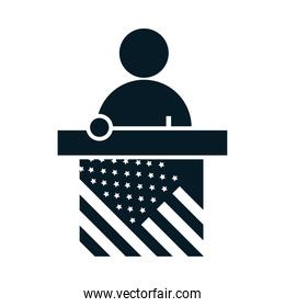 United States elections, speaking candidate in podium, political election campaign silhouette icon design