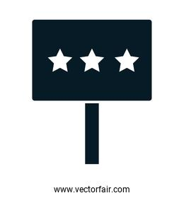 United States elections, placard with stars political election campaign silhouette icon design