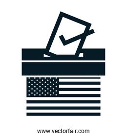 United States elections, american flag voting and ballot box, political election campaign silhouette icon design