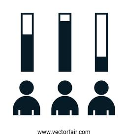 United States elections, infographics voting results, political election campaign silhouette icon design