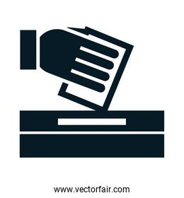 United States elections, hand putting voting paper in the ballot box, political election campaign silhouette icon design