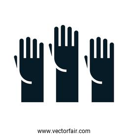 United States elections, raised hands campaign political election silhouette icon design