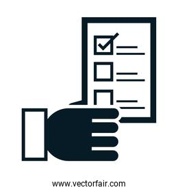 United States elections, hand with voting ballot, political election campaign silhouette icon design