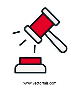 justice gavel icon, line and fill style
