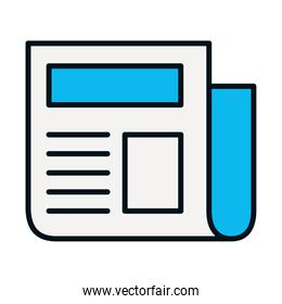 newspaper page icon, line and fill style