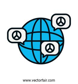 global sphere and speech bubbles with peace symbols, line and fill style