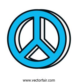 peace symbol icon, line and fill style