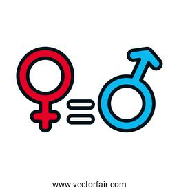 equality symbol, female and male gender symbols, line and fill style