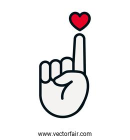 hand holding with the finger up a heart icon, line and fill style