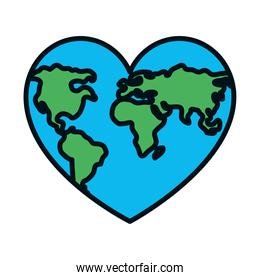 world map in heart shape icon, line and fill style