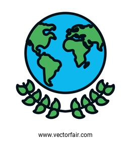 earth planet and decorative leaves wreath, line and fill style