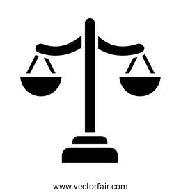 Justice scale icon, silhouette style
