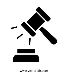 justice gavel icon, silhouette style