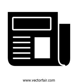 newspaper page icon, silhouette style