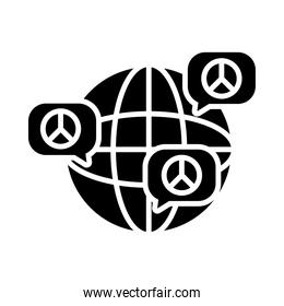 global sphere and speech bubbles with peace symbols, silhouette style