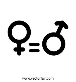 equality symbol, female and male gender symbols, silhouette style
