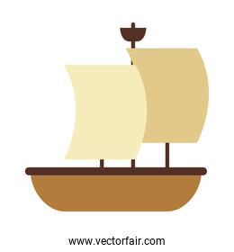 old sailing boat icon, flat style