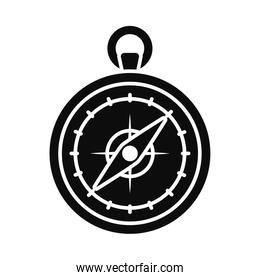 old compass icon, silhouette style