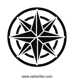 compass star icon, silhouette style