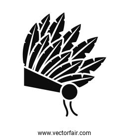 native indian hat icon, silhouette style