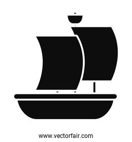 old sailing boat icon, silhouette style
