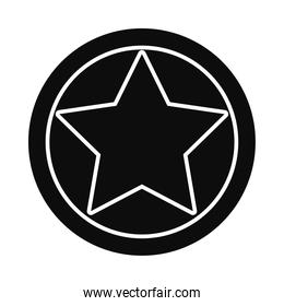 round with star icon, silhouette style