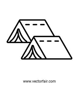 camping tents icon, line style