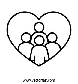 heart with pictogram people icon, line style