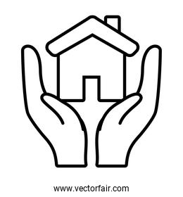 hands with house icon, line style