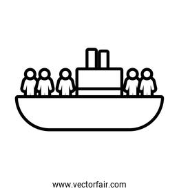 refuge people ship icon, line style